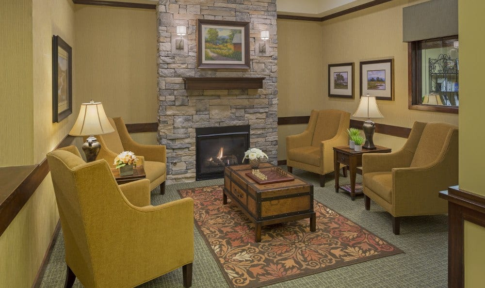 Our Westminster senior living facility has fireside sitting areas