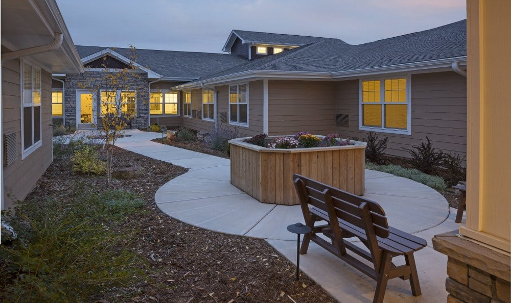 Courtyard at senior living facility in Westminster, CO