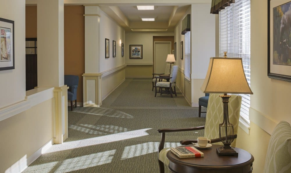 Spacious hallways at our senior living facility in Westminster, CO