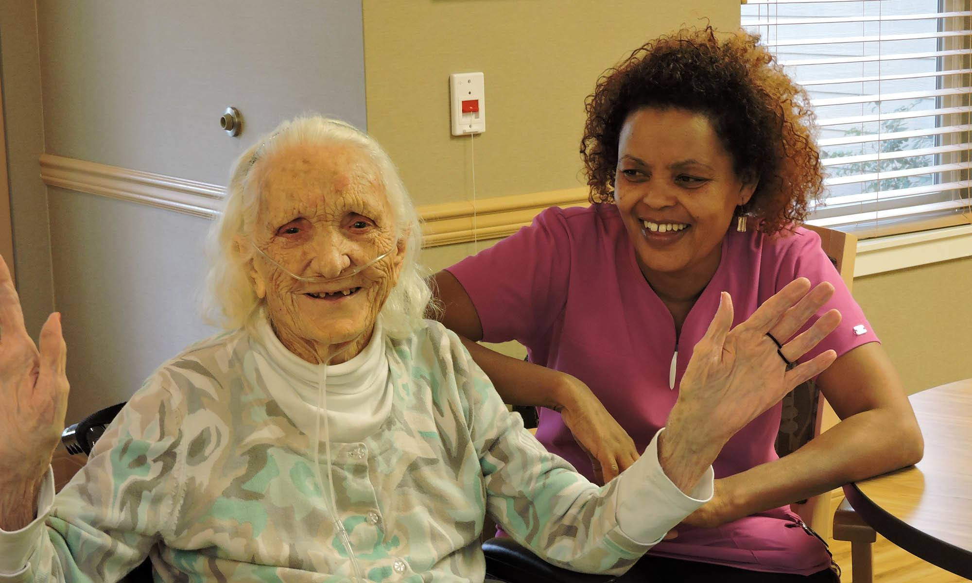 Resident and caregiver at senior living in IL
