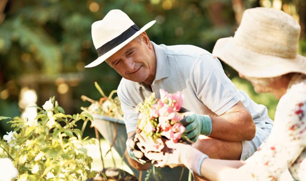 Gardening at our senior living facility in Murrieta, CA