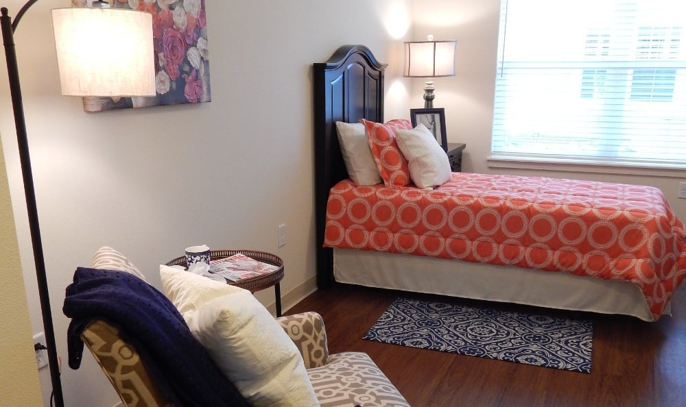 Spacious senior living bedrooms here at Willowbrook Place