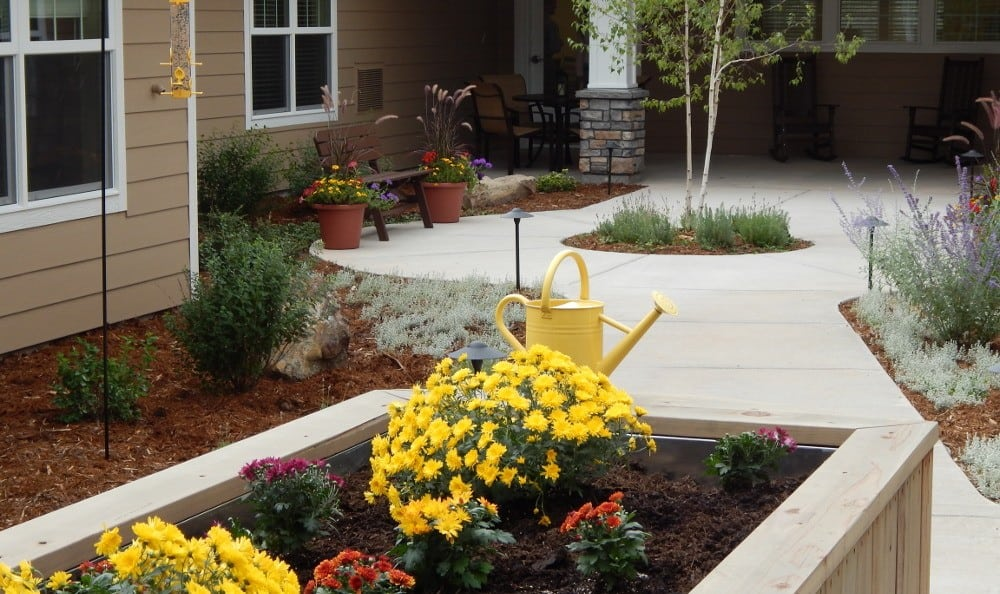 Courtyard at our senior care facility in Littleton