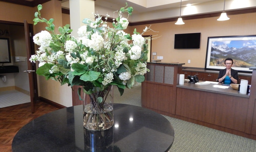 Lobby at our senior care facility in Littleton