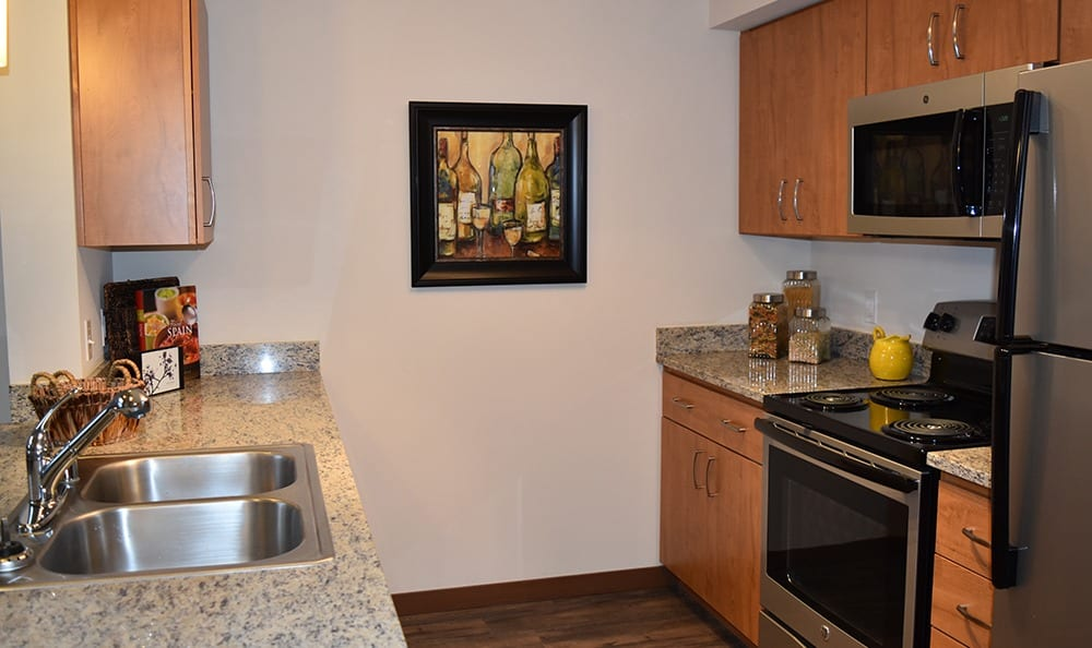 Kitchen At Apartments In University Place Washington