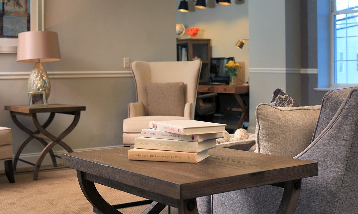 Enjoy a good book, socialize with friends, and more in the cozy common areas at Maplewood at Danbury.