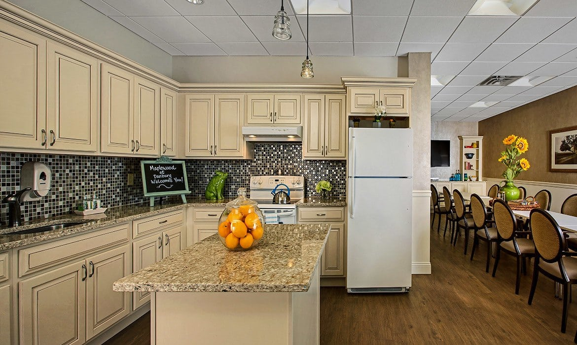 Expansive kitchens with everything you need to cook fantastic meals are available for resident use at Maplewood at Danbury.