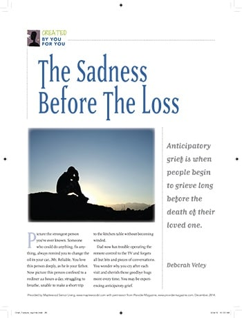 Guide for helping children cope with the impending loss of an aging loved one.