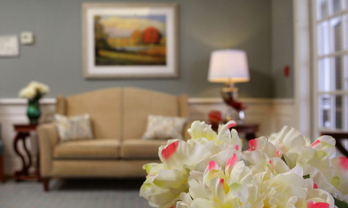 The interior flora - as well as the exterior landscaping - are meticulously maintained here at Maplewood at Orange.