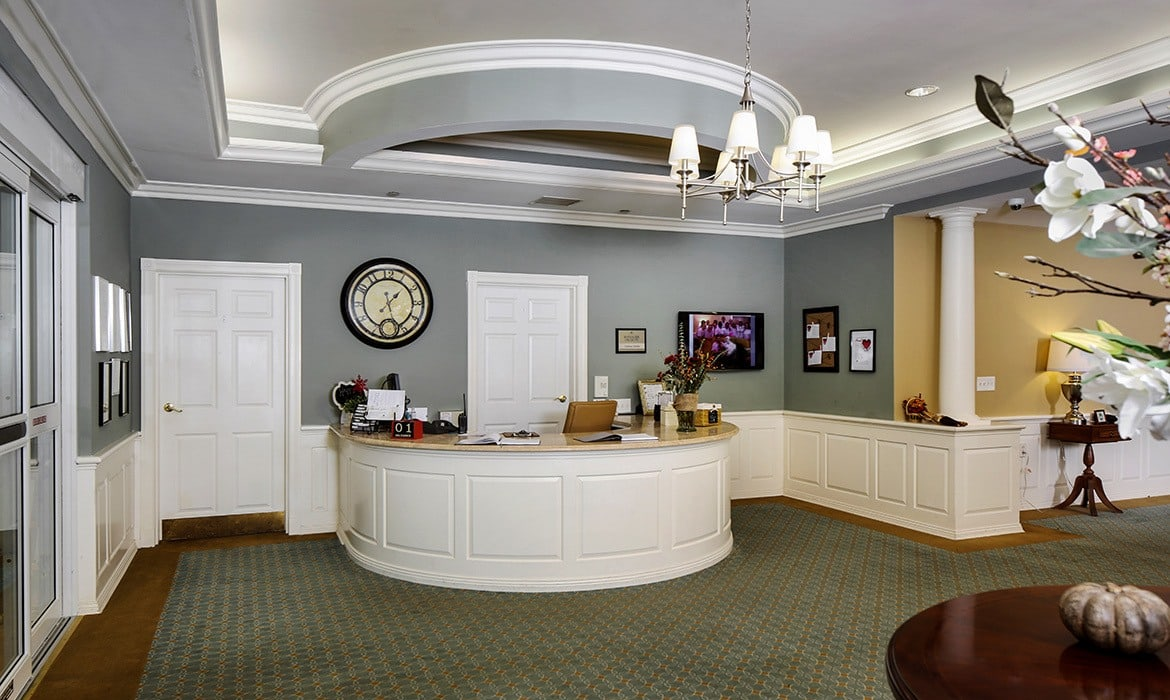 Grand ceilings and archways abound at Maplewood at Orange in Orange, CT.