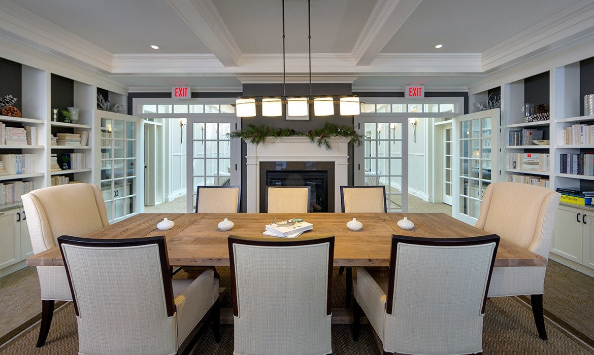 Meeting rooms and private dining areas are available for residents and their guests here at Maplewood at Strawberry Hill in East Norwalk.