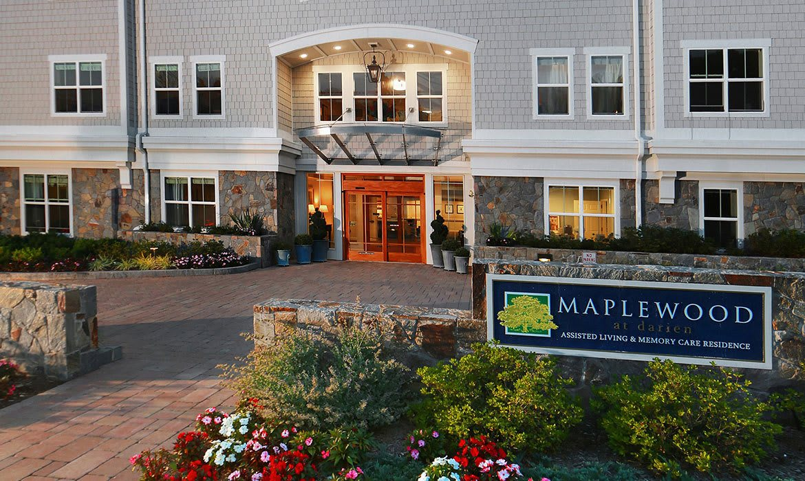 Grand ceilings and archways abound at Maplewood at Darien in Darien, CT.