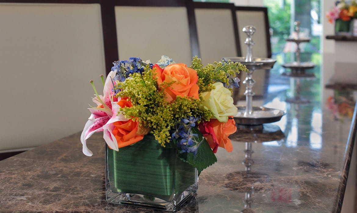 The interior artwork and flora are sure to please at Maplewood at Darien.