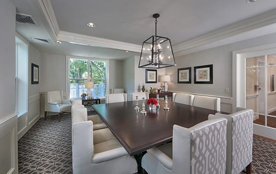 For special events, there are several lavish private dining areas at Maplewood at Darien.