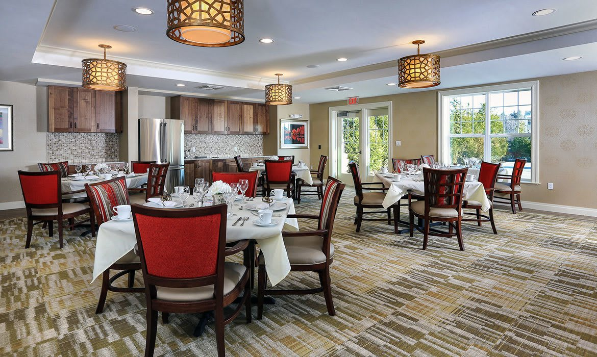 Grand ceiling, archways, and charming surroundings abound at Maplewood at Stony Hill in Bethel, CT.