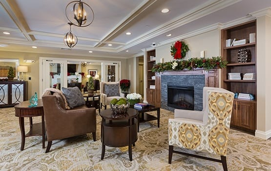 There are so many comfortable places to chat with your neighbors or read a good book here at Maplewood at Stony Hill.
