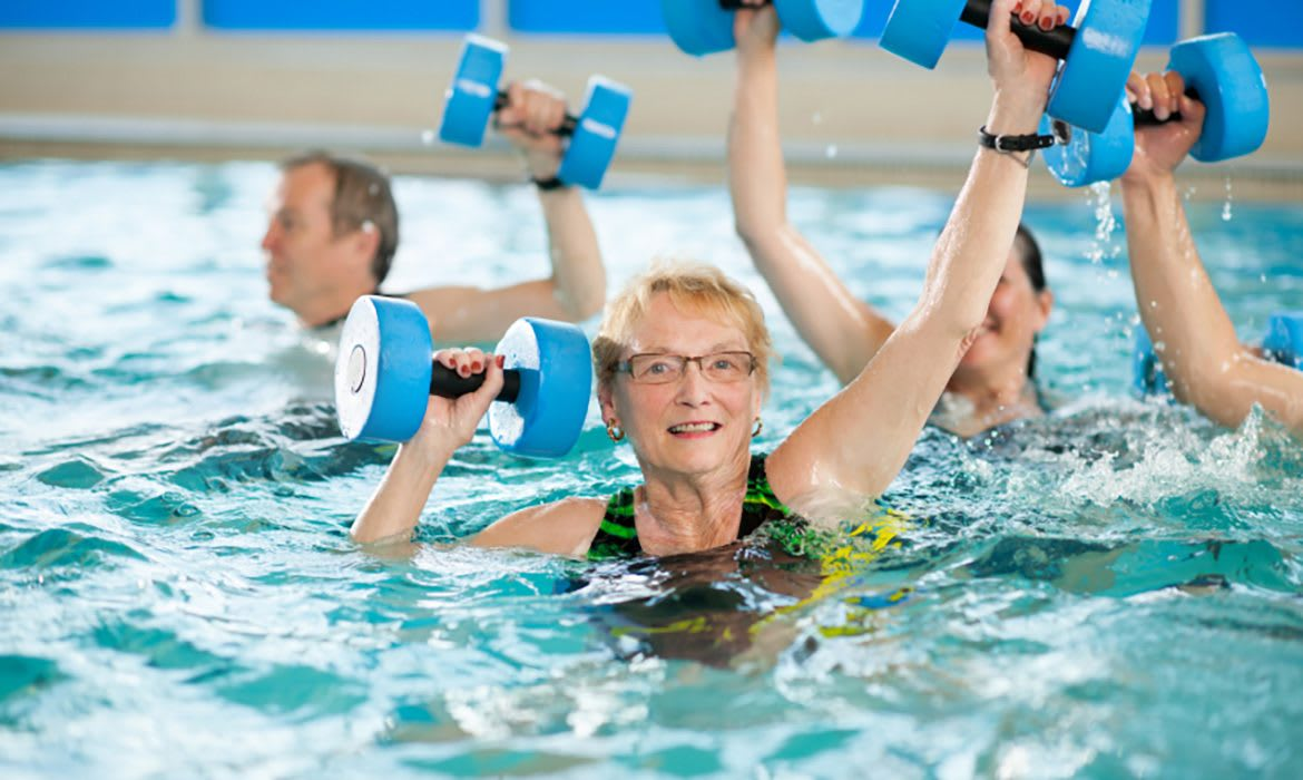 Fitness options at Maplewood at Weston include low-impact water aerobics and more!