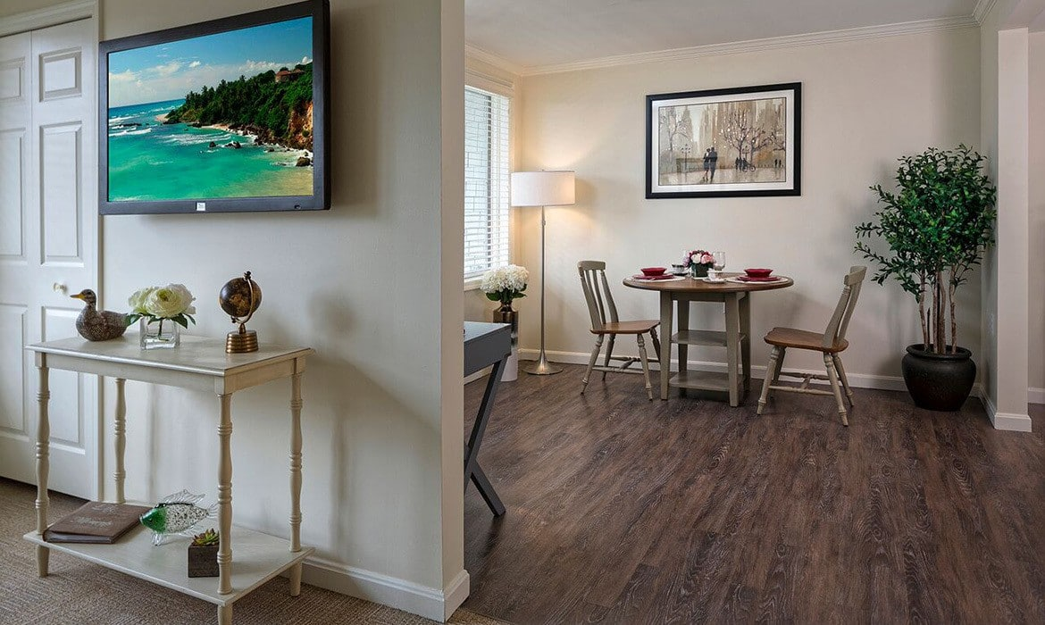 The living spaces at Maplewood at Mayflower Place are warm and inviting.