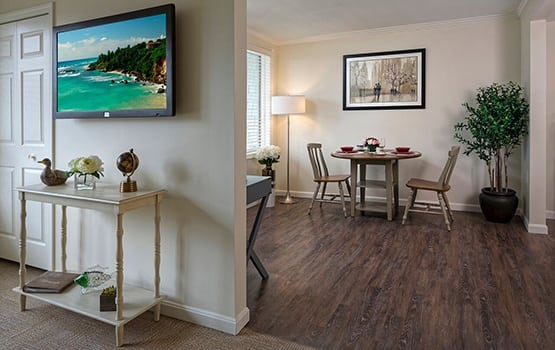 The living spaces at Maplewood at Mayflower Place are beautifully designed, and warm and inviting.
