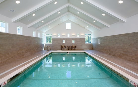 Up for a swim? Maplewood at Brewster has an expansive and luxurious indoor pool area.