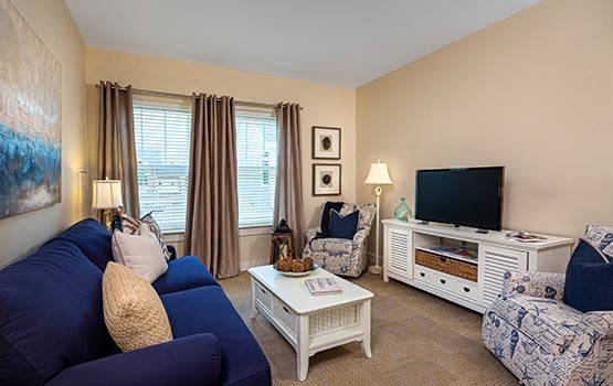 The living areas at Maplewood at Brewster are warm and inviting.