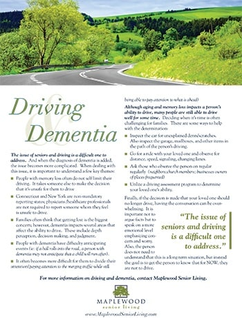 Guide for children of parents or grandparents with dementia who are thinking about driving.