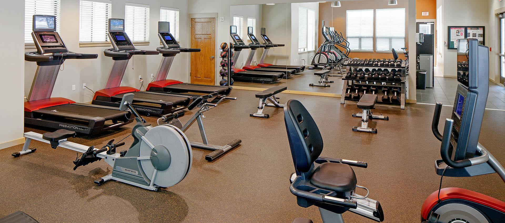 Well Equipped fitness center at Eddyline at Bridgeport in Portland, OR