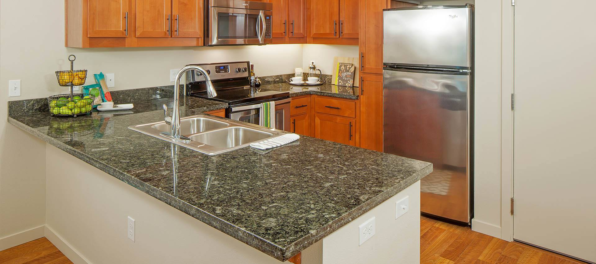 granite counter tops at Eddyline at Bridgeport in Portland, OR