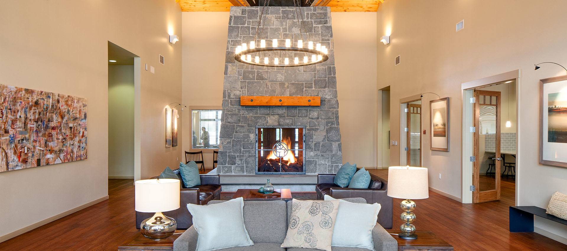 Clubhouse with stone fireplace at Eddyline at Bridgeport in Portland, OR