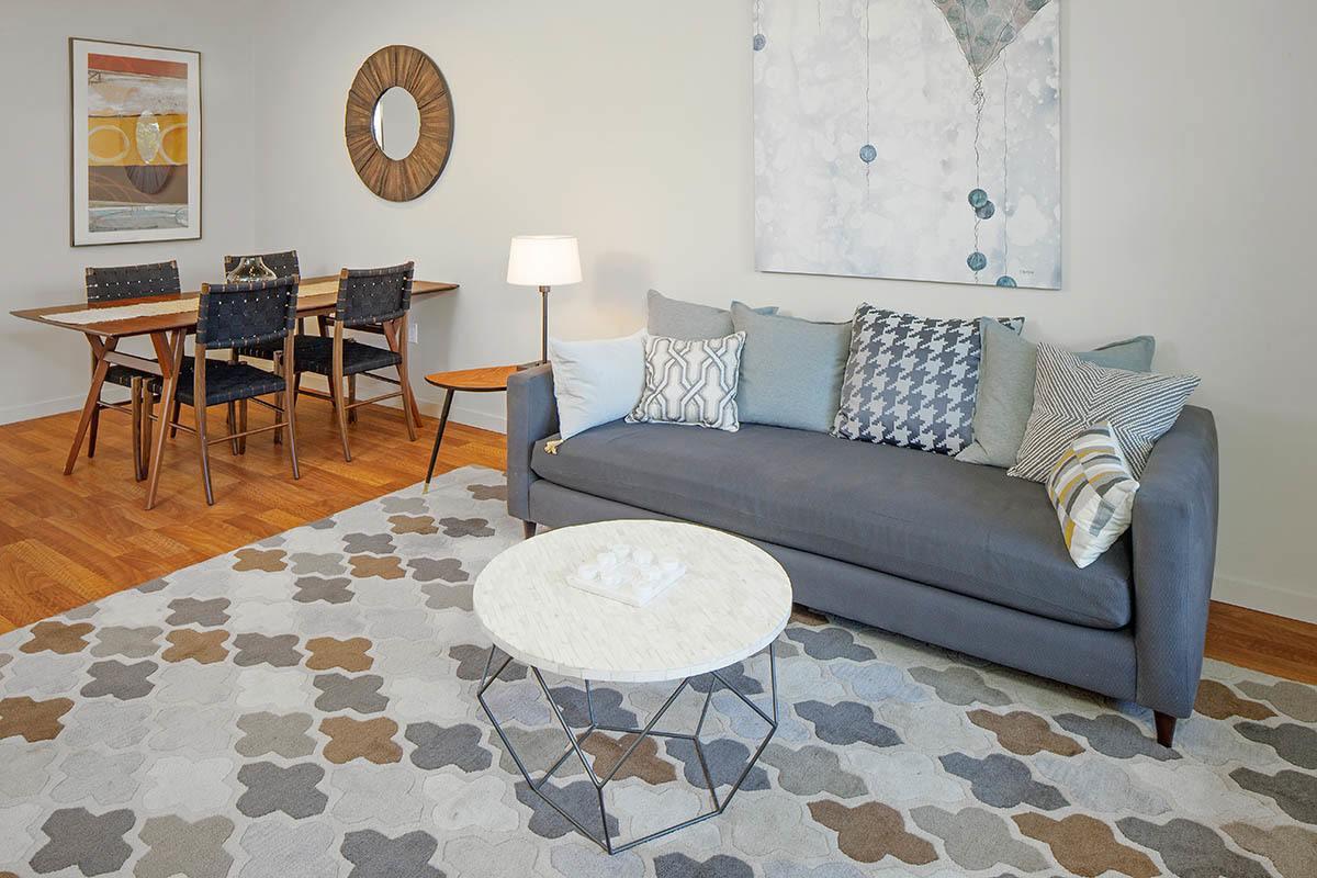 Furnished Living Room At Eddyline at Bridgeport In Portland