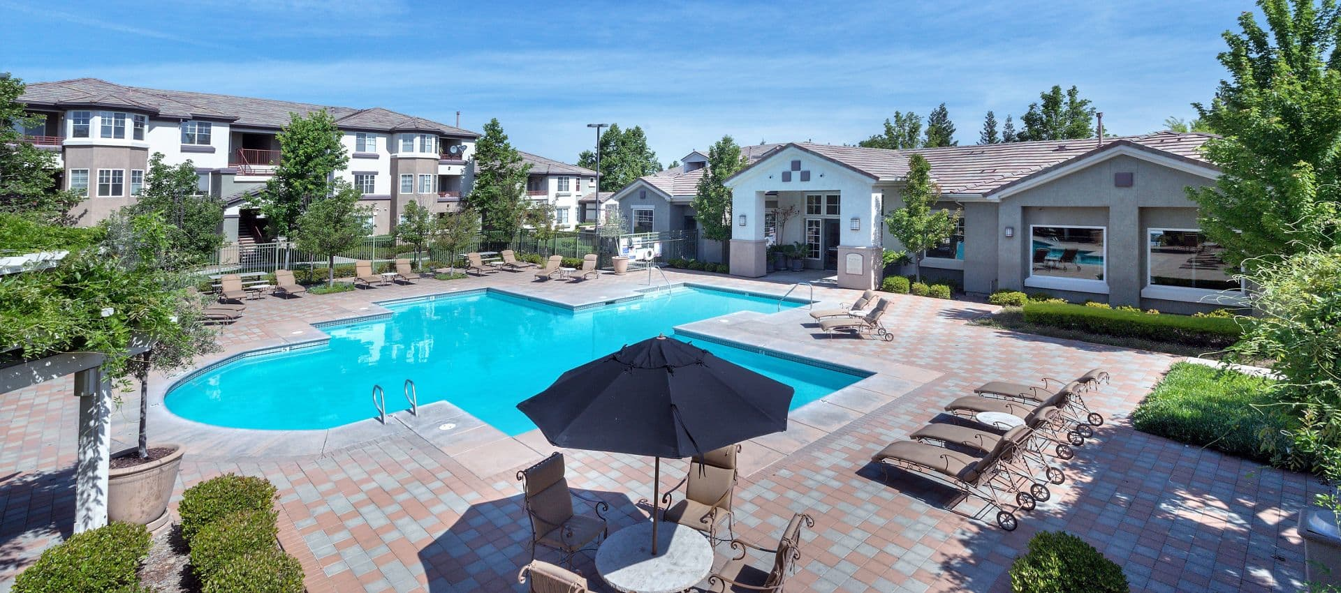 The Artisan Apartment Homes's Swimming Pool View From Above in Sacramento, CA
