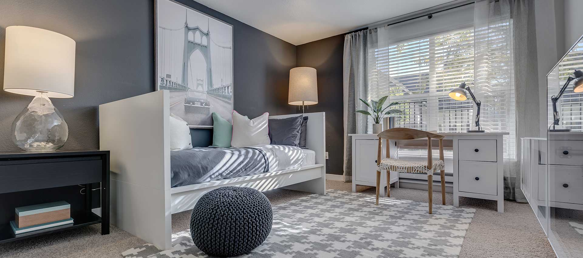 Second bedroom at Centro Apartment Homes in Hillsboro, Oregon