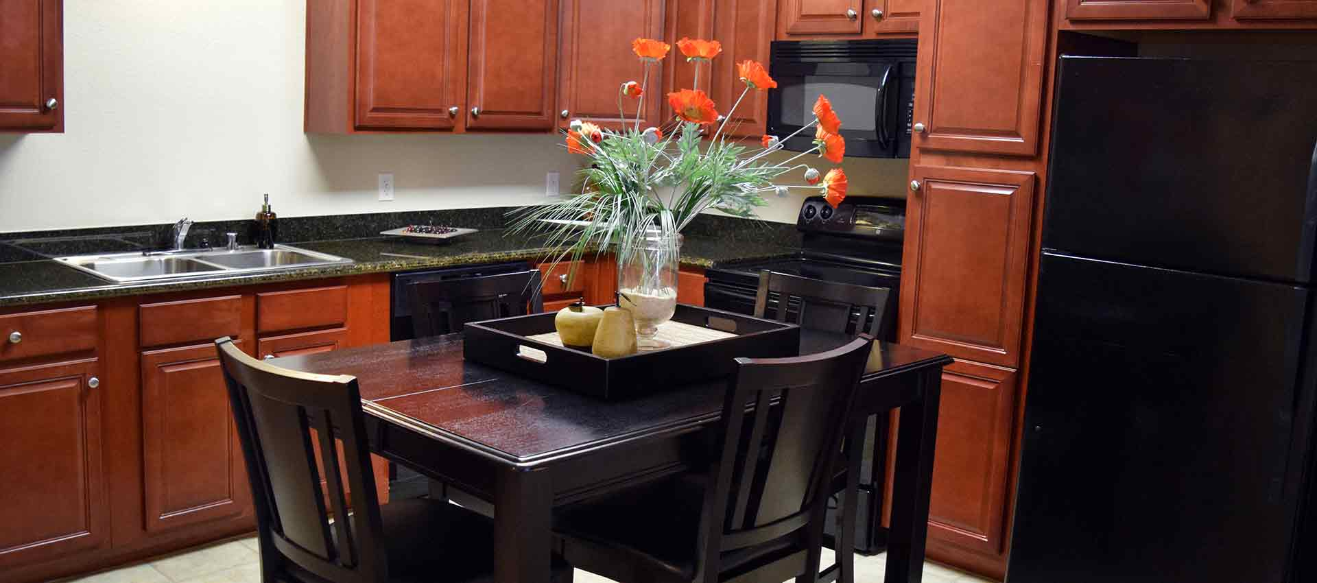 Table in the kitchen at Wolf Ranch Condominium Rentals in Sacramento
