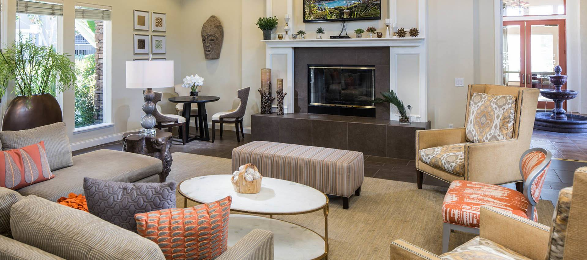 Relax around the fireplace at Alicante Apartment Homes in Aliso Viejo, CA