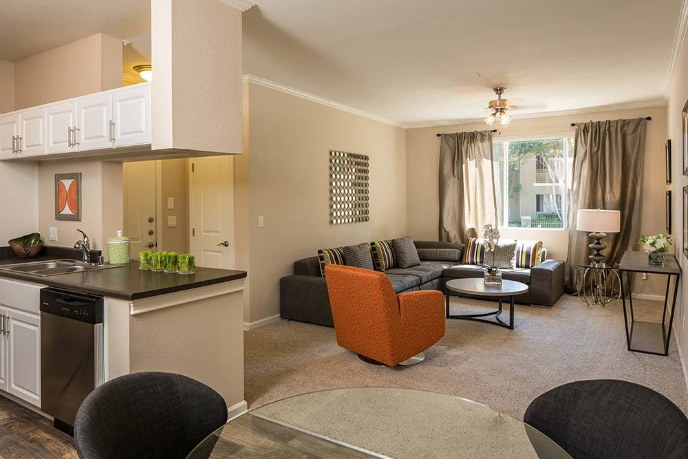 Your new luxury living room at Alicante Apartment Homes in Aliso Viejo, CA