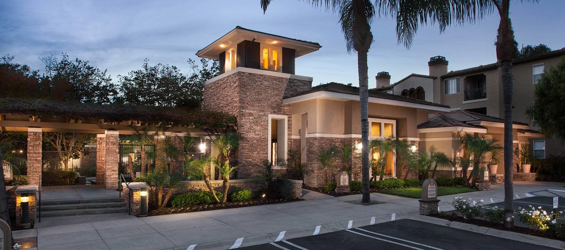 Exterior At Night in Alize at Aliso Viejo Apartment Homes in Aliso Viejo, California