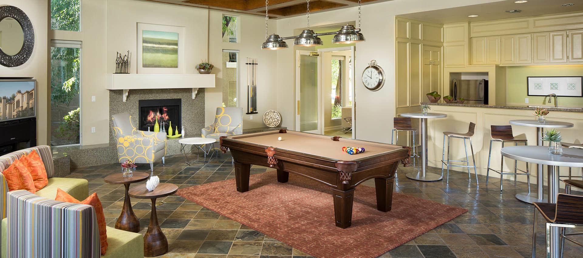 Pool Table In Clubhouse in Alize at Aliso Viejo Apartment Homes in Aliso Viejo, California