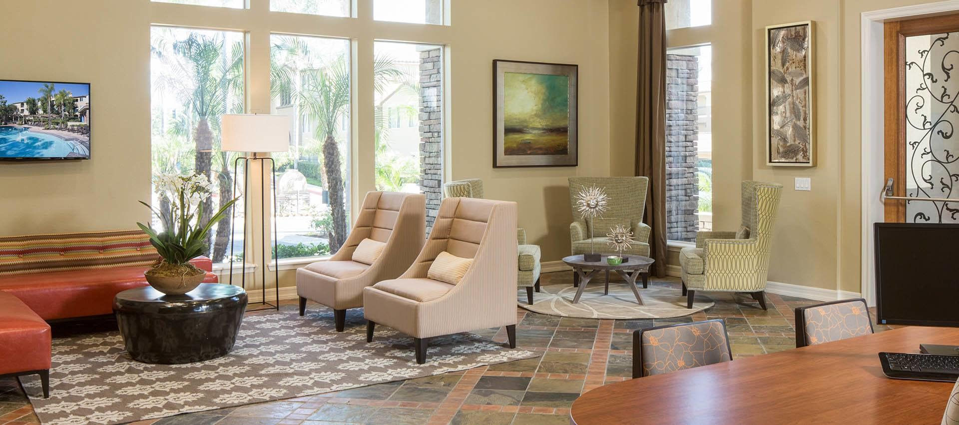 Seating In Lobby in Alize at Aliso Viejo Apartment Homes in Aliso Viejo, California