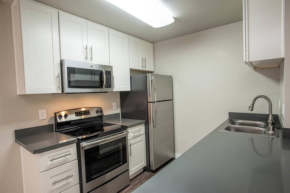 Kitchen layout at Ballena Village Apartment Homes in Alameda, CA