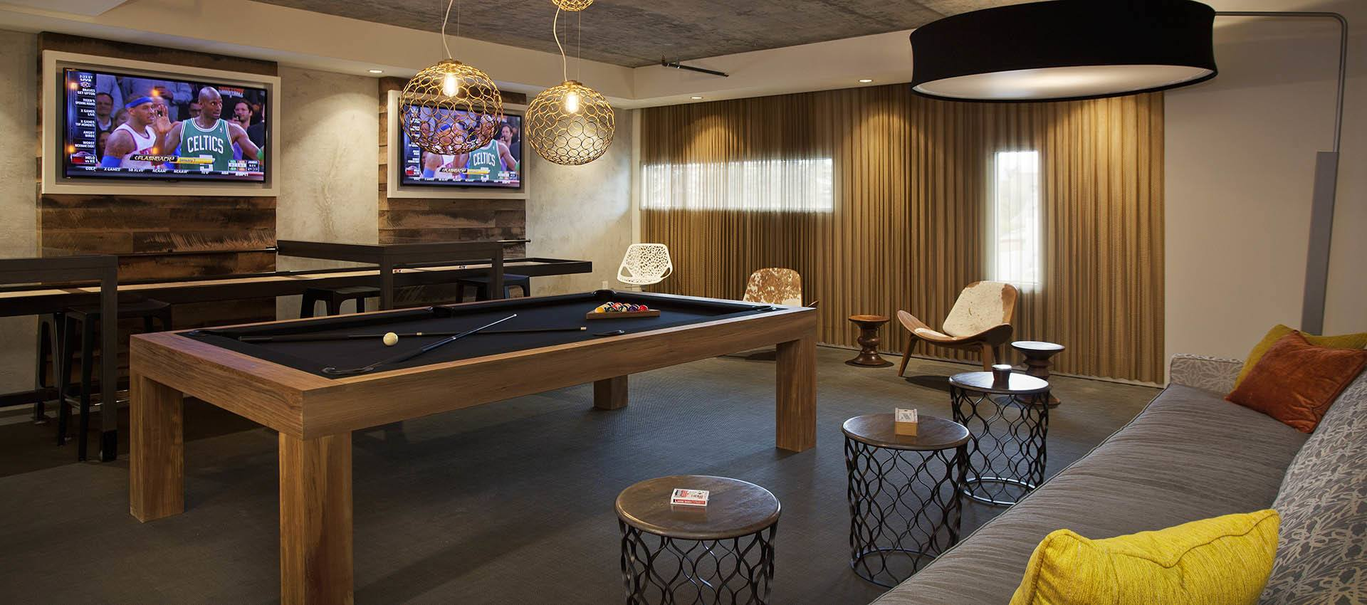 Winners circle game room at apartments in Glendale