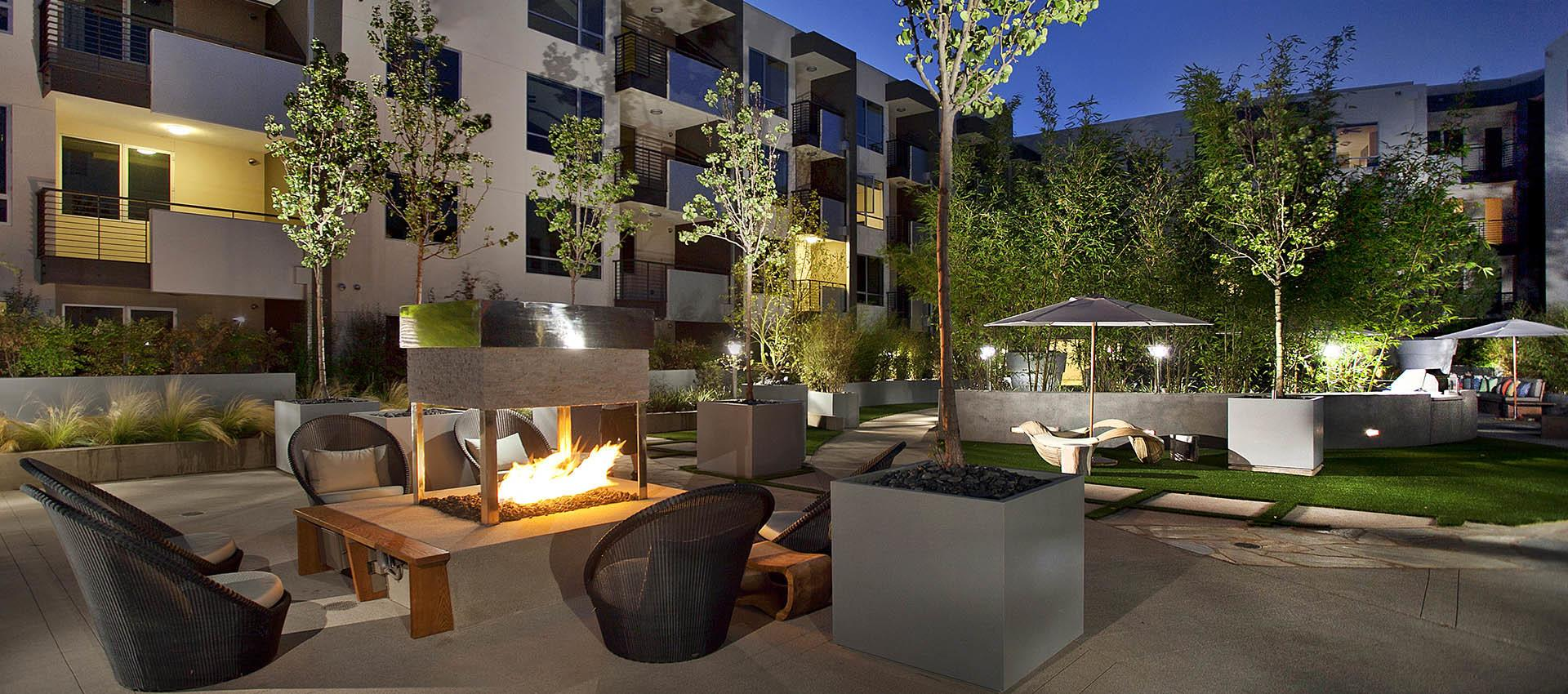 Outdoor Fireplace at apartments in Glendale, CA