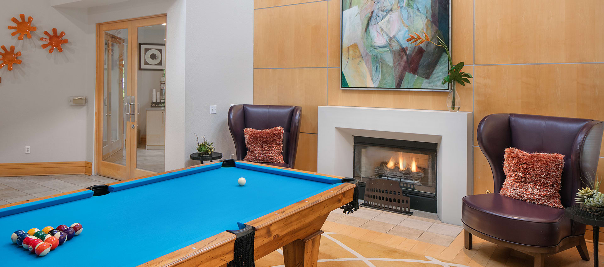 Pool table at apartments in Center Pointe Apartment Homes, Oregon