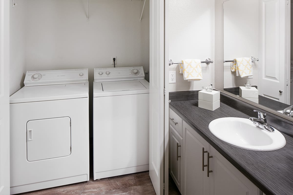 Bathroom layout at apartments in Beaverton