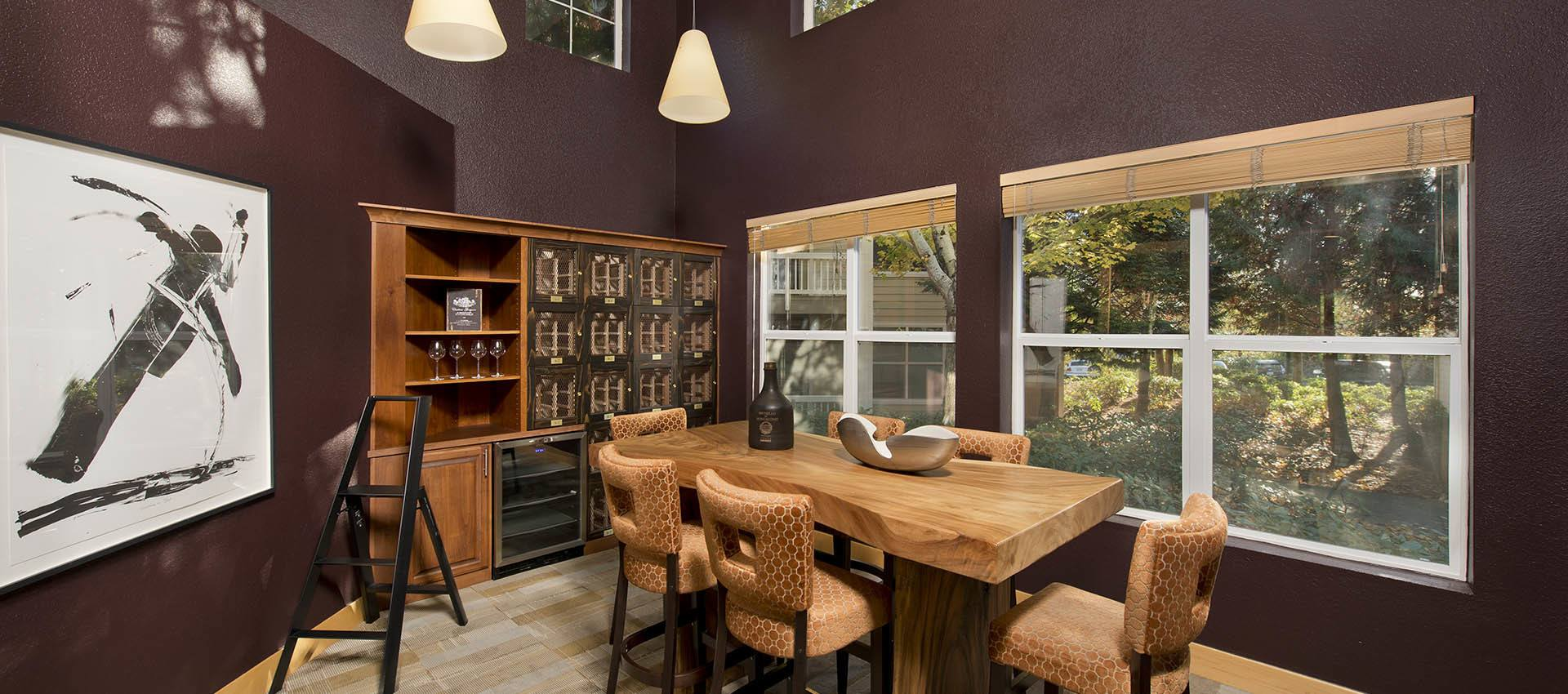 Wine Room at apartments in Center Pointe Apartment Homes, Oregon
