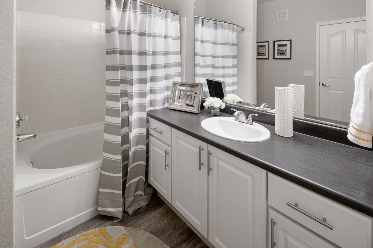 Bathroom layout at apartments in Hillsboro