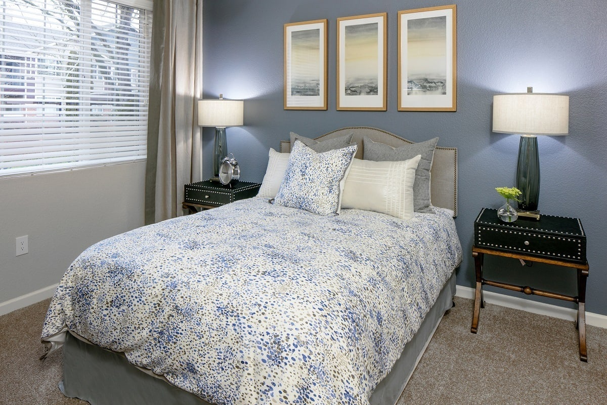 Bedroom layout at apartments in Hillsboro