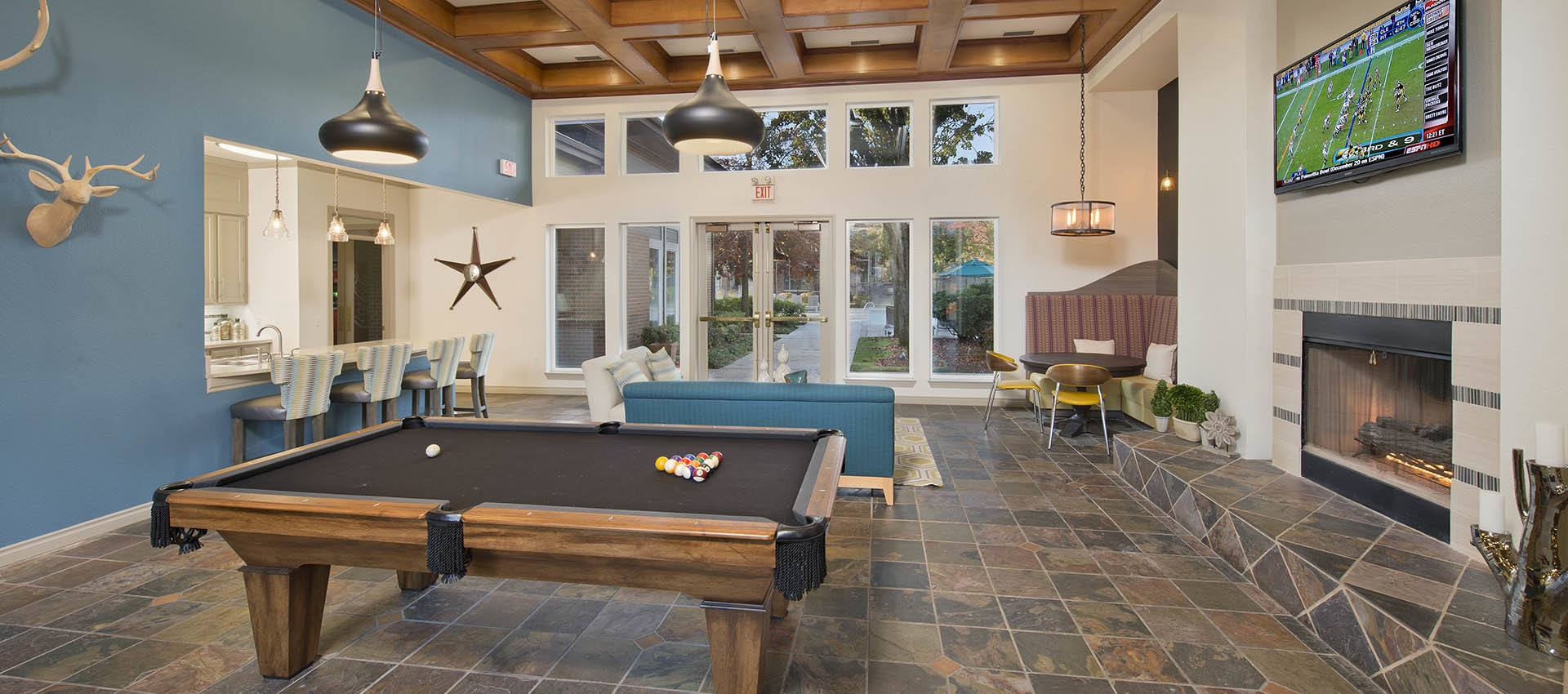Clubhouse with Billiards at Cortland Village Apartment Homes in Hillsboro