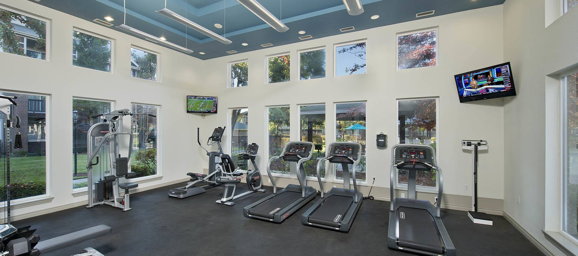 Fitness center at Cortland Village Apartment Homes in Hillsboro, OR
