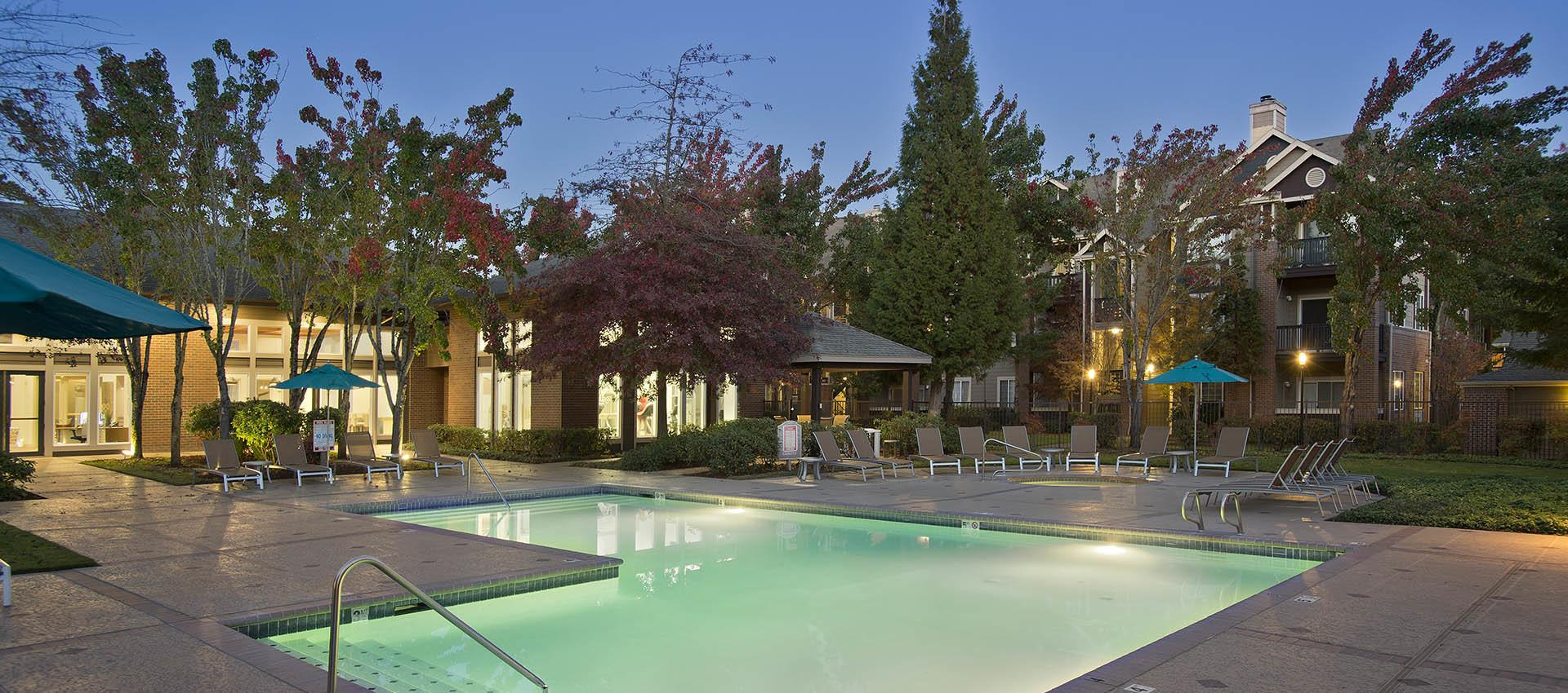 Pool at apartments in Hillsboro, OR