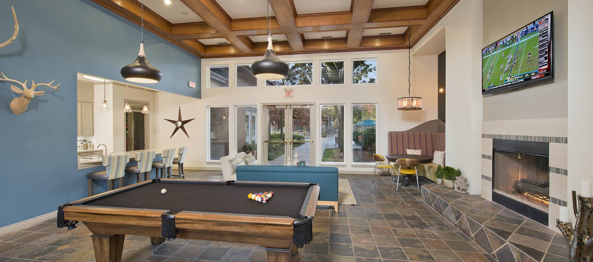 Pool table at Cortland Village Apartment Homes in Hillsboro, OR